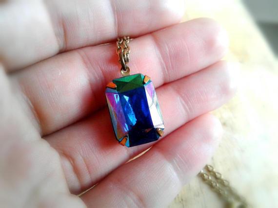 Rainbow Glass Gem Necklace Vintage Glass Gem Necklace Rainbow Gemstone  Necklace Rainbow Glass Gemstone Necklace from ArtisanJewelryGifts