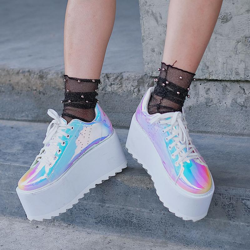 huge selection of 2d2e5 1d6cb Holographic platform shoes
