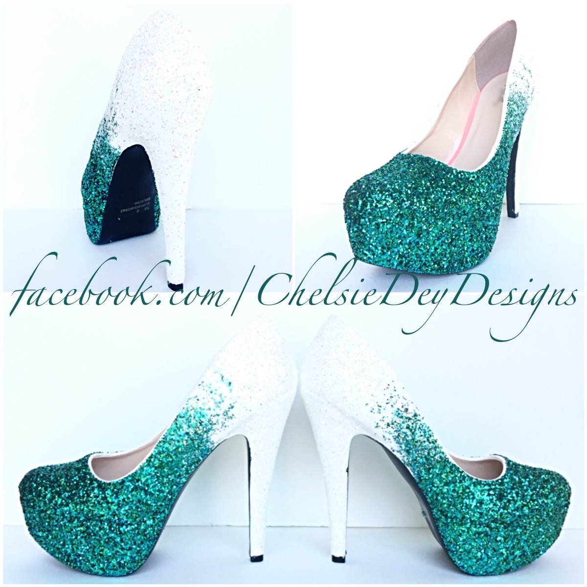6a4691ad0 Glitter High Heels - Green Ombre Pumps - Seafoam and White - Platform Shoes  on Storenvy