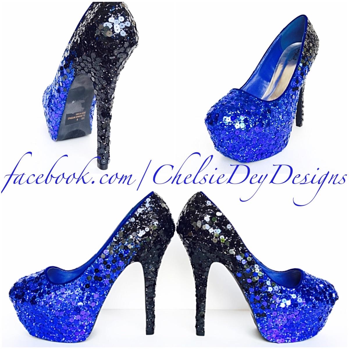 8e0932b4d220 Blue Sequin High Heels