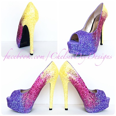 4f1d1dee28 Yellow ombre glitter high heels, pink purple peep toe pumps, eggplant open  toe prom