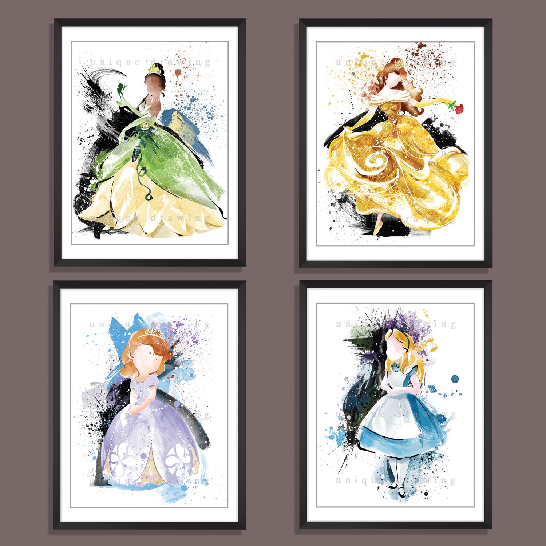 Set Of 4 Same Size Art Prints Belle Tiana Alice Sofia Disney Princess Home Decor Kids Room Fine No3601 On Storenvy