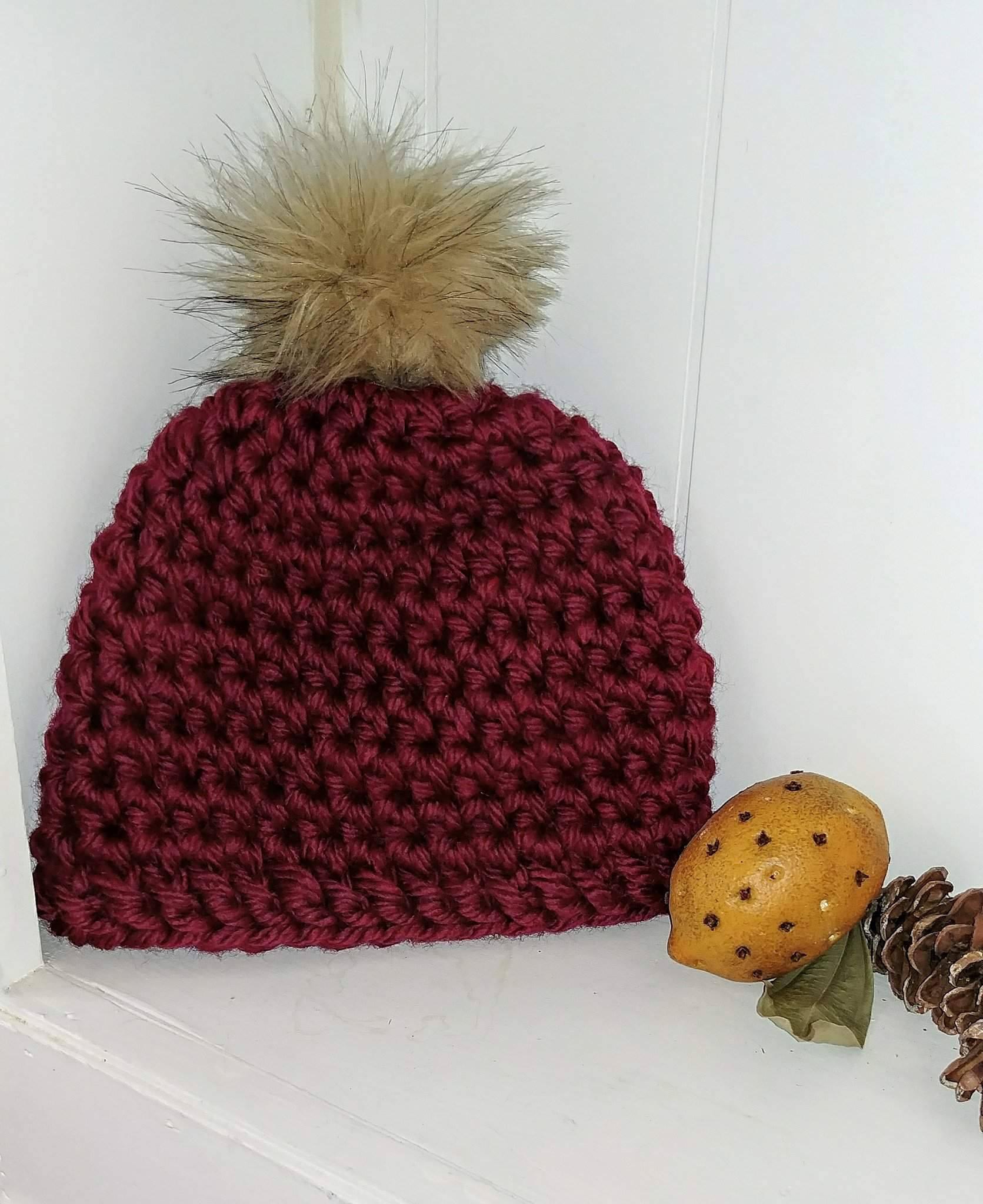 Wine Chunky Crochet Hat On Storenvy