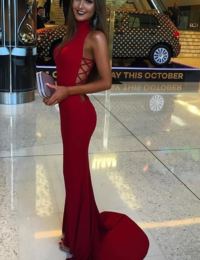Red mermaid prom dress