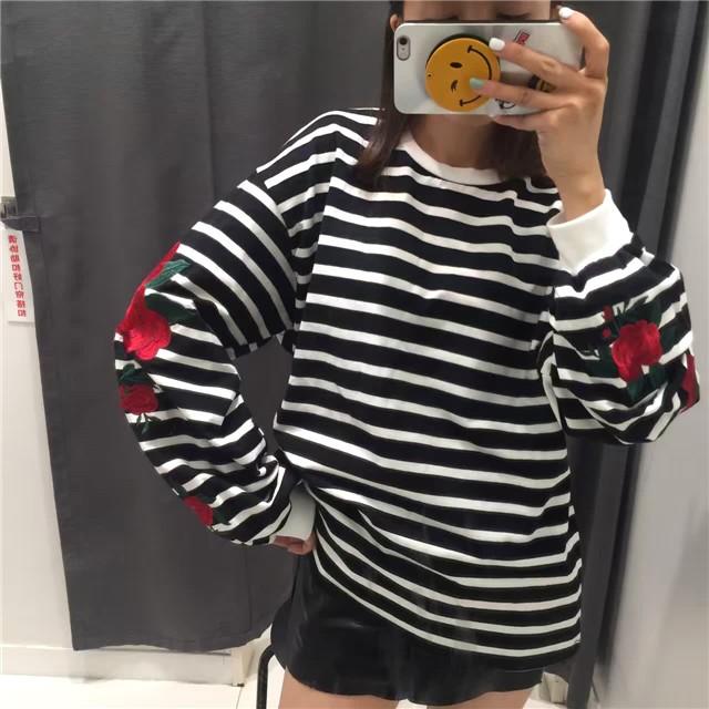 70fb3d65d6 Harajuku Hoodies Roses Embroidery Lantern Sleeve Loose Striped Women  Sweatshirt Girl Vintage Elegant Casual Tops on Storenvy