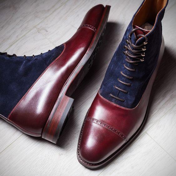 4fc987d91ca Handmade Men Cape Tone Lace Up Dress Boots