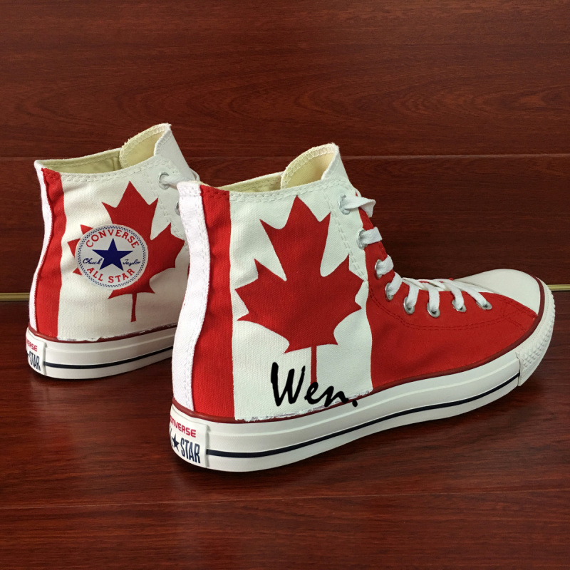 f8e518d39716 Canada Flag Maple Leaf Design Custom Converse All Star Hand Painted ...