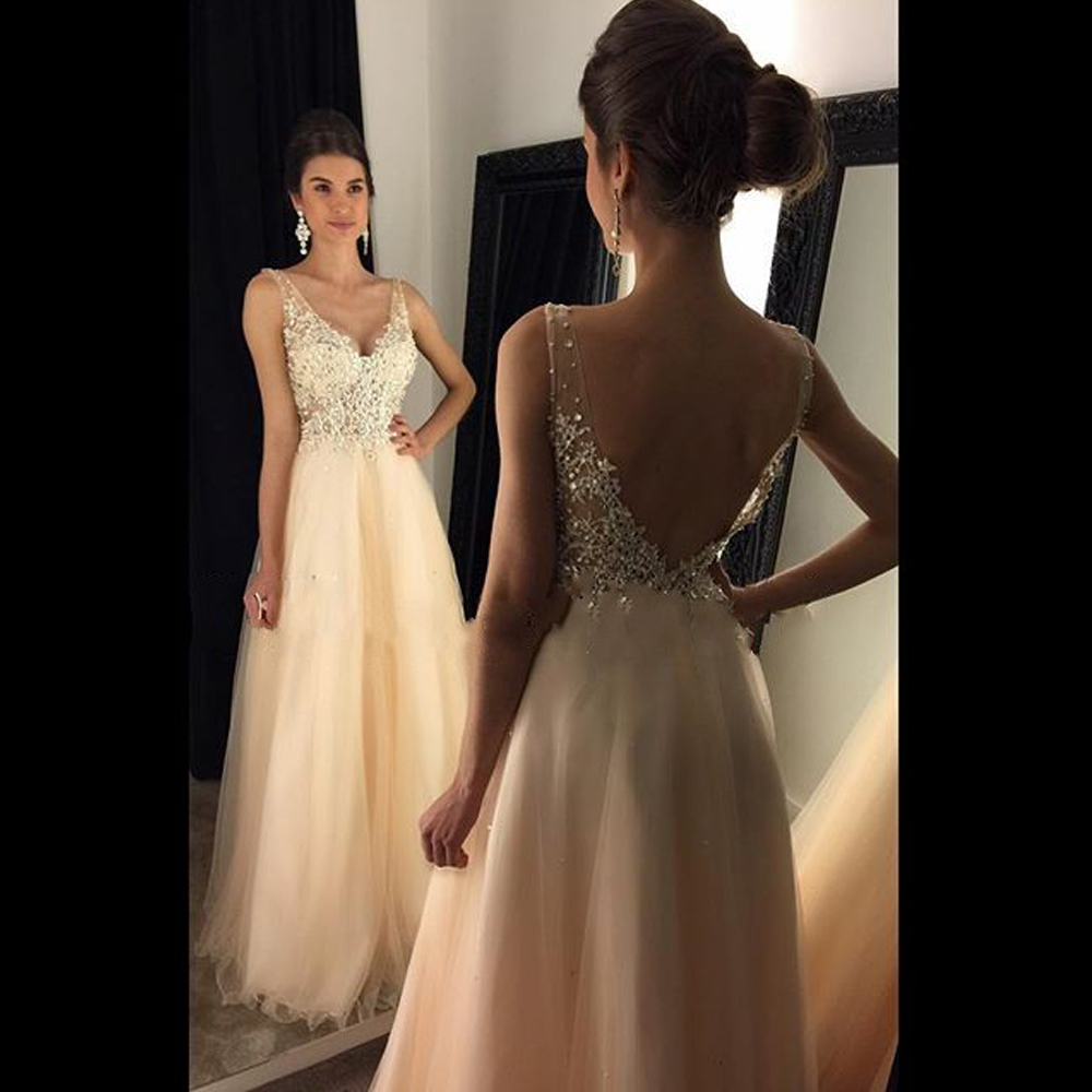cf469f5f12 Elegant A-line V-neck Long Lace Appliques Crystal Prom Evening Dress Plus  Size