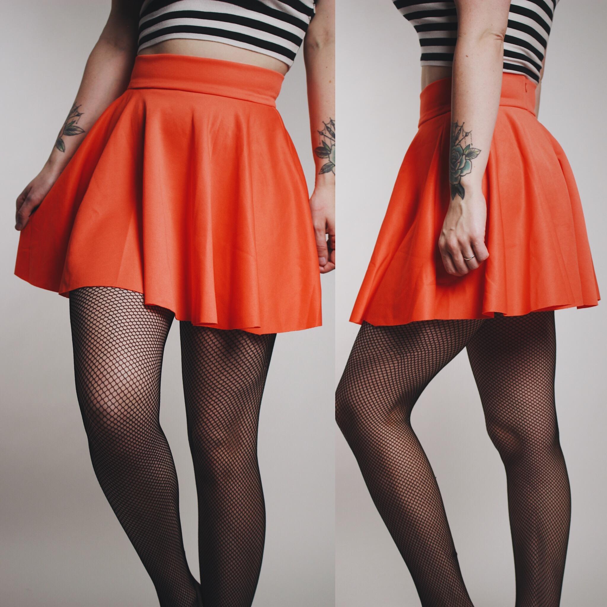 2c66eef233 CLAIMED  Joanne - Vintage 90s Neon Orange Spandex Skater Skirt - Thumbnail 1