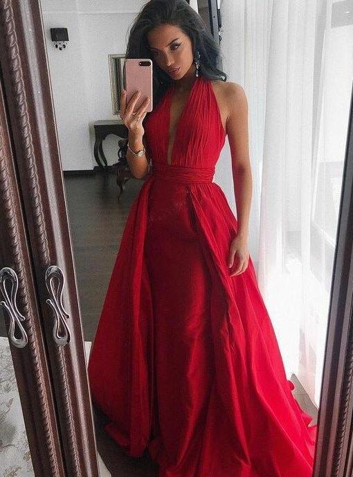 Charming Sheath Halter Prom Dress,Red Satin Prom Dress,Long Evening ...