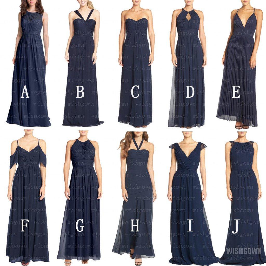 212c78e67ac Mismatched Navy Chiffon Long Bridesmaid Dresses