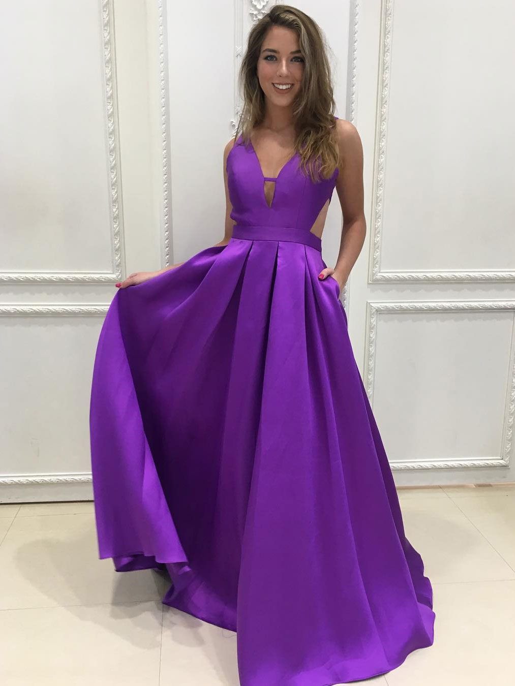 7913941a6794c A-line V-neck Cheap Prom Dresses,Simple Prom Dresses,Long Purple ...