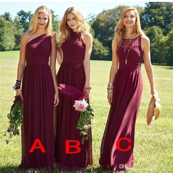 Chiffon Bridesmaid Dress Cheap Custom Bridesmaid Dress Red