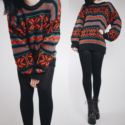 """9a07d75aa7 Claimed @spellmaster07 - vintage 90s """"stranger things"""" inspired chunky fair  isle sweater -"""
