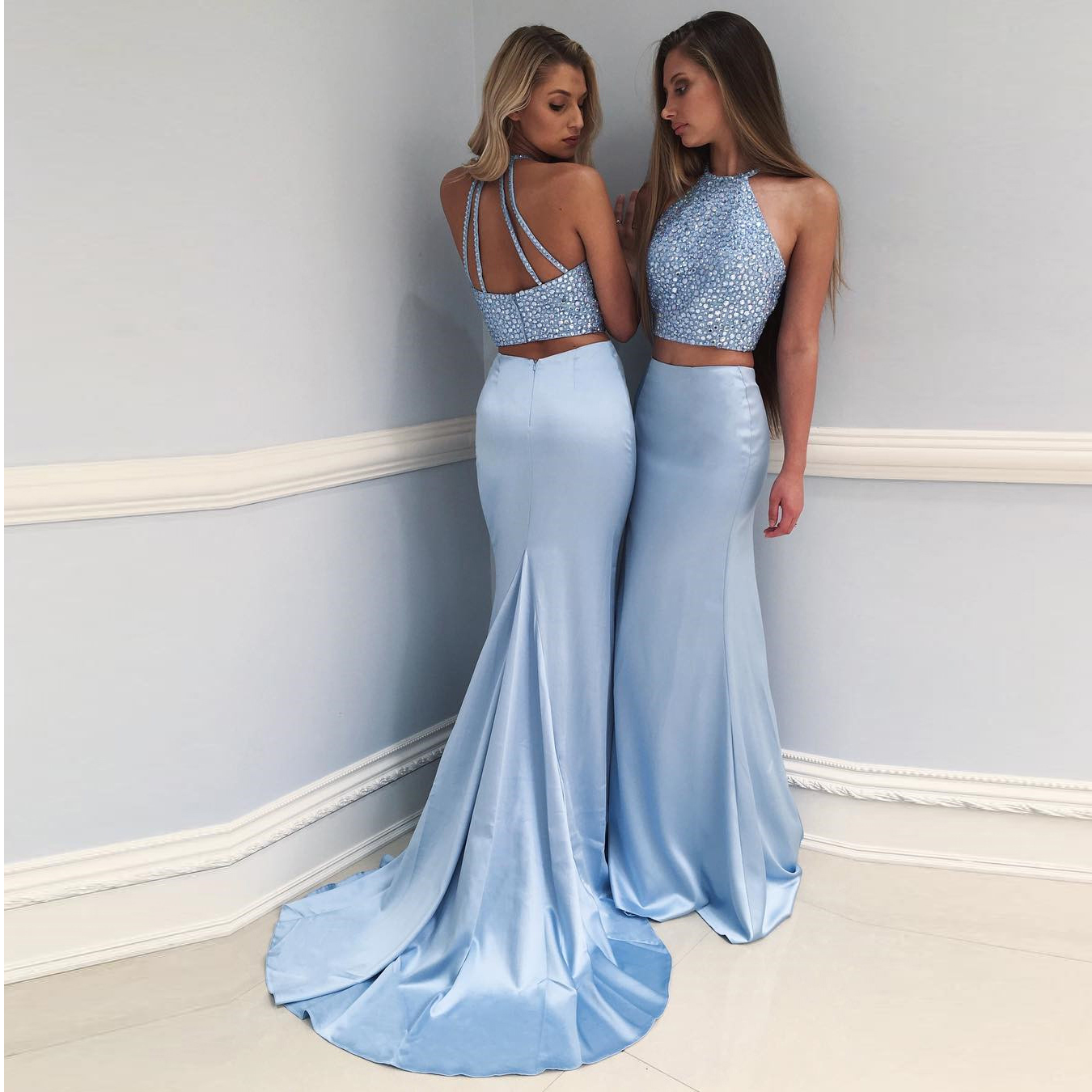 Two Piece Prom Dress Light Blue, Beaded Halter Mermaid Formal Evening Gown