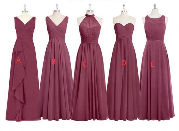 81f330d6547d Cheap Chiffon Mismatched Dusty Red Long Bridesmaid Dresses, Affordable  Unique Custom Long Bridesmaid Dresses,