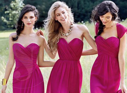 Cheap Chiffon Mismatched Hot Pink Long Bridesmaid Dresses