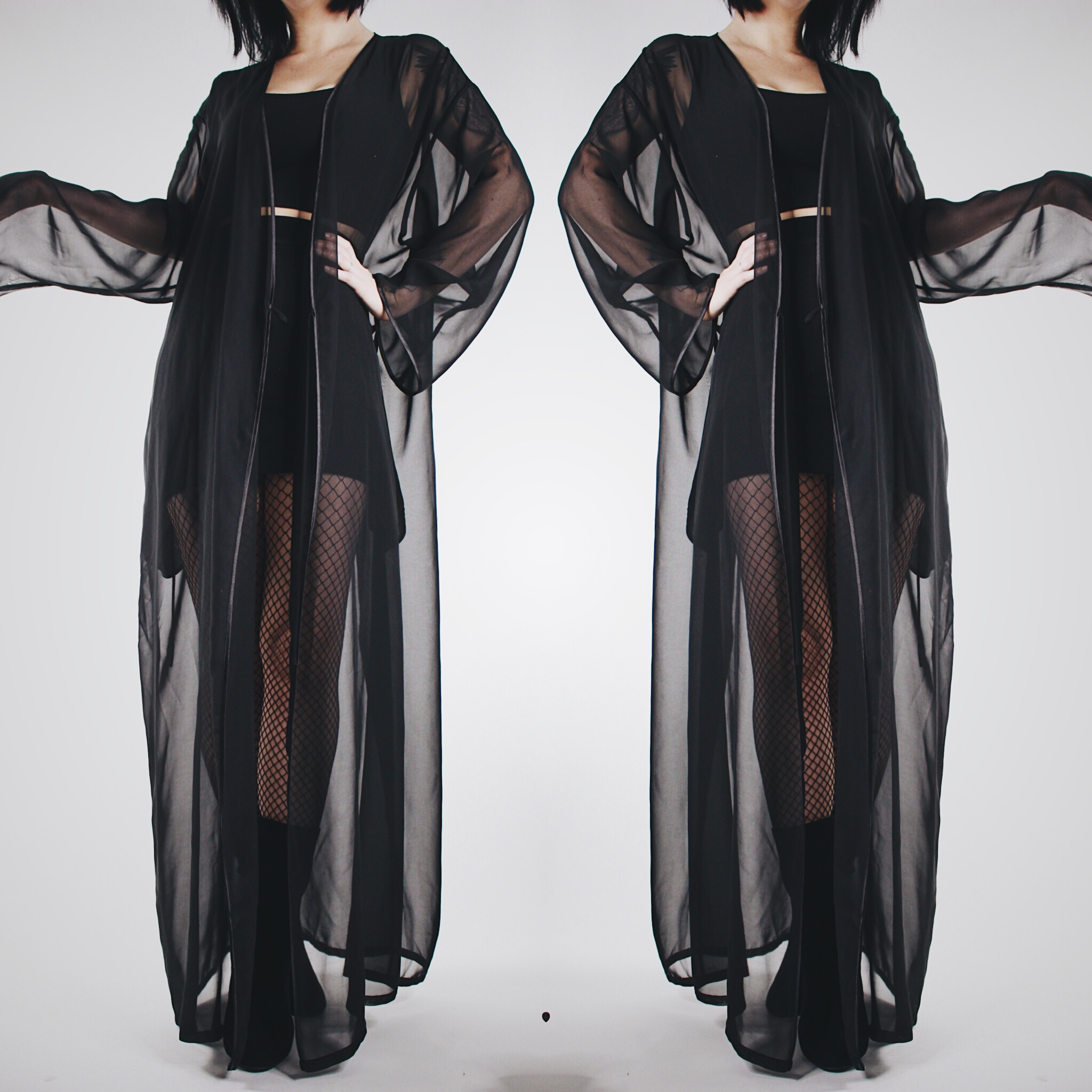 09e7c43e7016 CLAIMED @skully_mean - Vintage 80s Black Sheer Flowy Multi-Way Dressing Gown  - Thumbnail ...