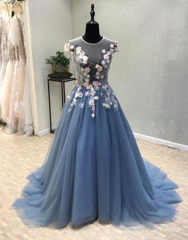 d891b1b41c2bb Custom made Blue round neck tulle lace applique long prom dress, blue  evening dress