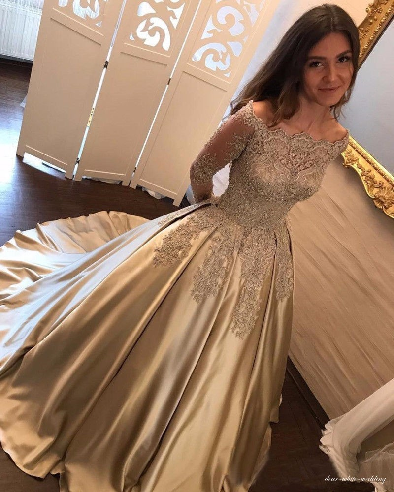a7bcd2d7b6d Gold Lace Appliques Long Sleeve Prom Dresses 2018 Ball Gown Quinceanera  Dress Off Shoulder Party Gowns