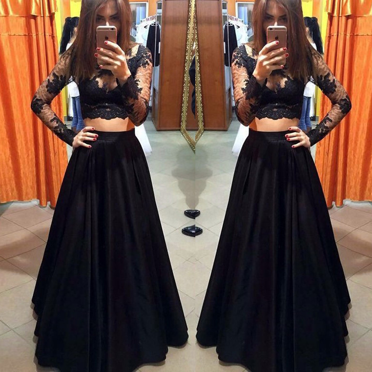 671d0a132859 Sexy Black Illusion Lace Two-Piece A-Line Satin Long Sleeves Evening Gown  ...