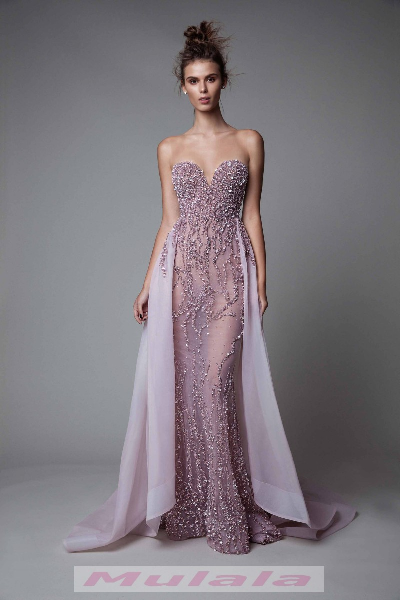 d9245cbb33 Sexy See Through Berta Prom Dresses 2018 Luxury Crystal Beaded Mermaid  Evening Dress Sweetheart Detachable Train Party Gowns from Mulala