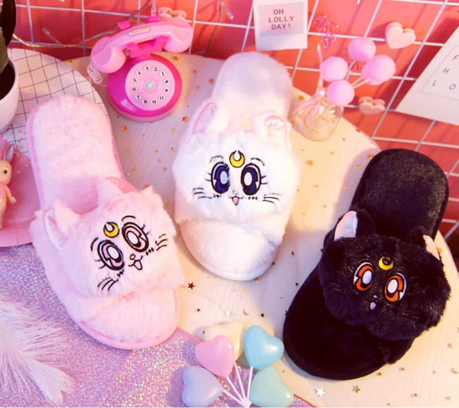 fbf1fea4eb32 Cartoon Sailor Moon Luna Cat Furry Slippers on Storenvy