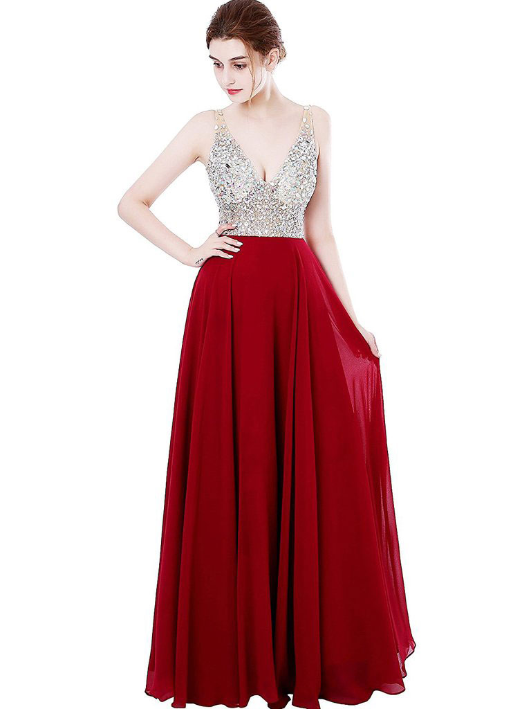 52fe867930 A-line Deep-V Sweep Train Chiffon Sequined Red Prom Dresses 3027 ...