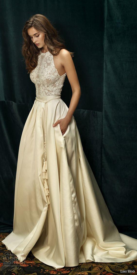 Elegant Halter Sleeveless Sweep Train Ivory Satin Wedding