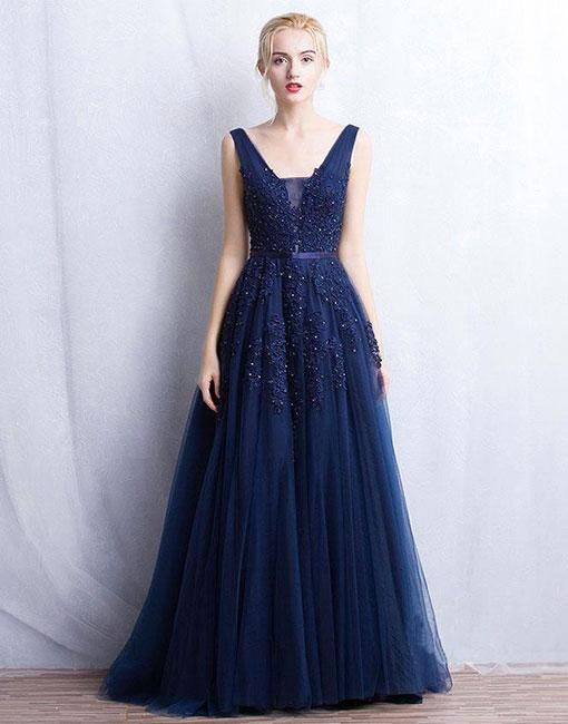Fashion A-Line V-Neck Navy Blue Tulle Long Prom Dress with Lace ... 1cee69e1d