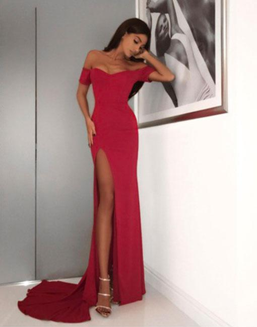 Sexy Mermaid Off Shoulder High Split Red Satin Formal Dress With