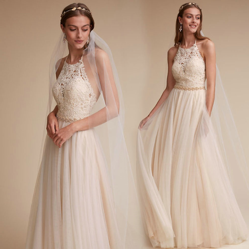 Wedding Gown With Neck Detail: Open Back Wedding Dress,Halter Neckline Lace Bridal Dress