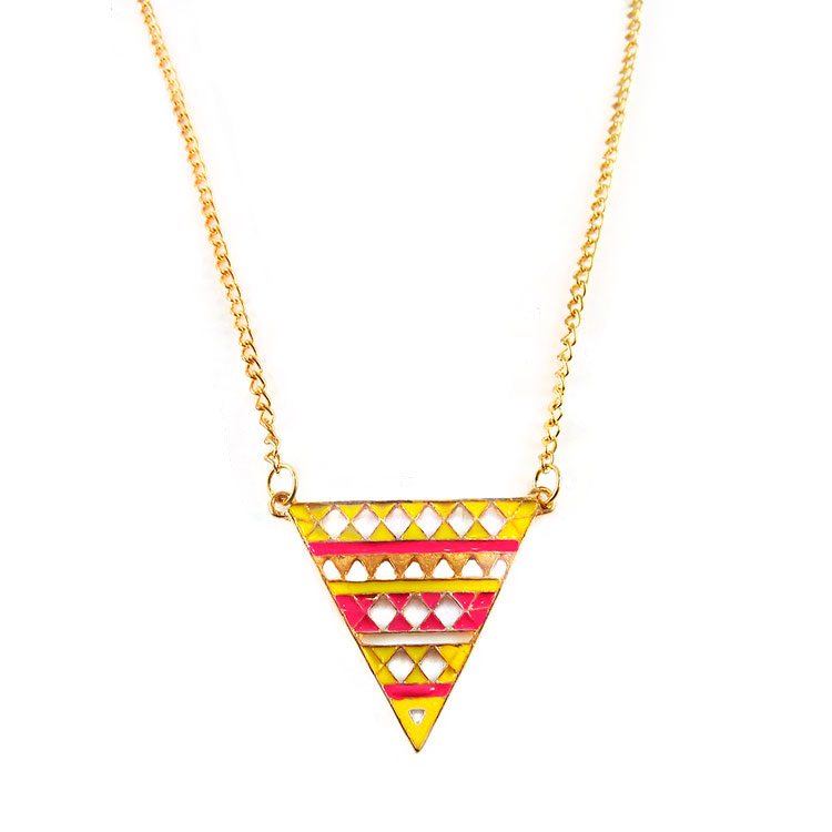 Pink and Yellow Triad Necklace sold by Loops & Glitter