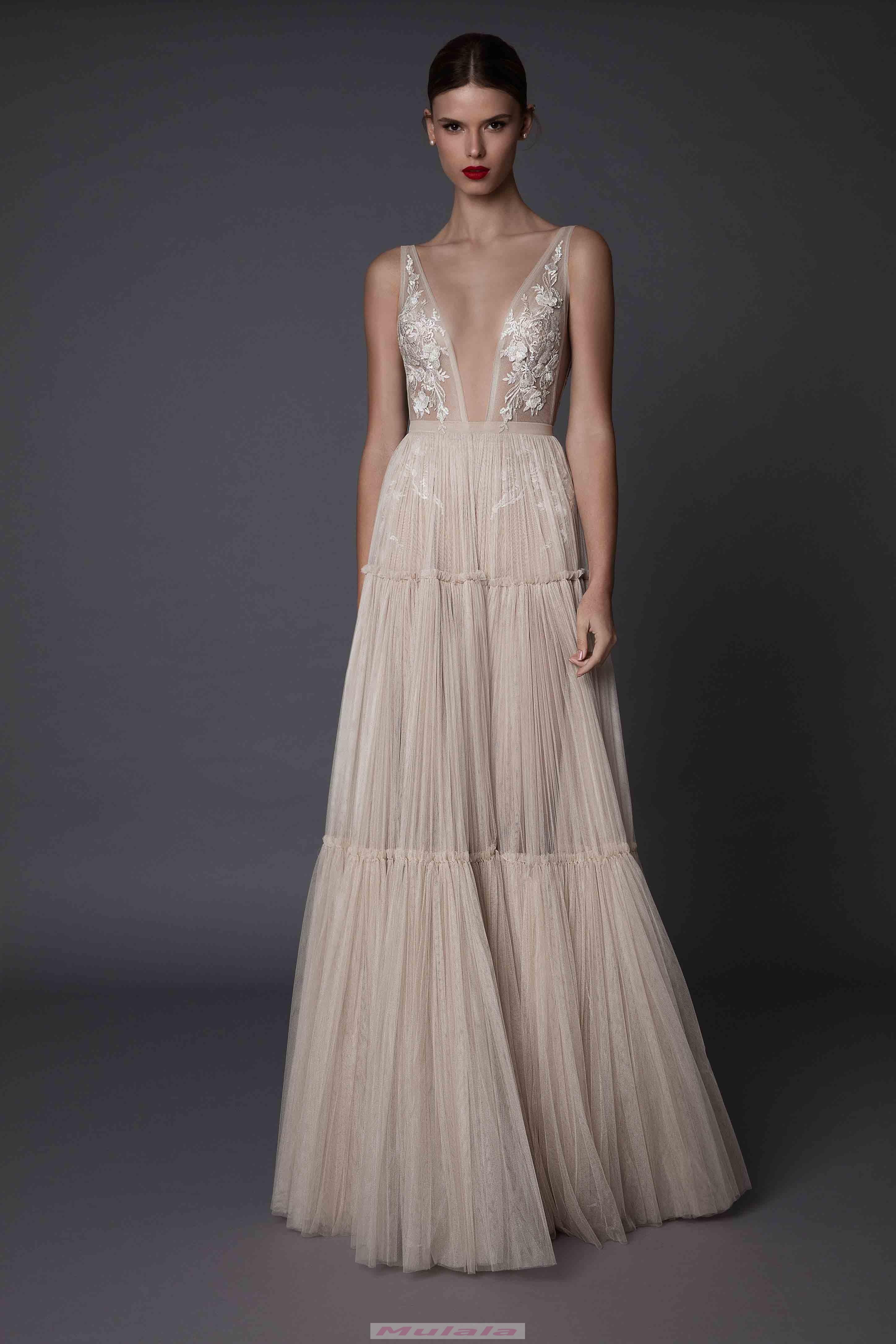 16a9c9b770c Champagne Tulle Tiered Prom Dresses Berta 2018 Sexy Deep V Neck Backless Evening  Dress Lace Appliques