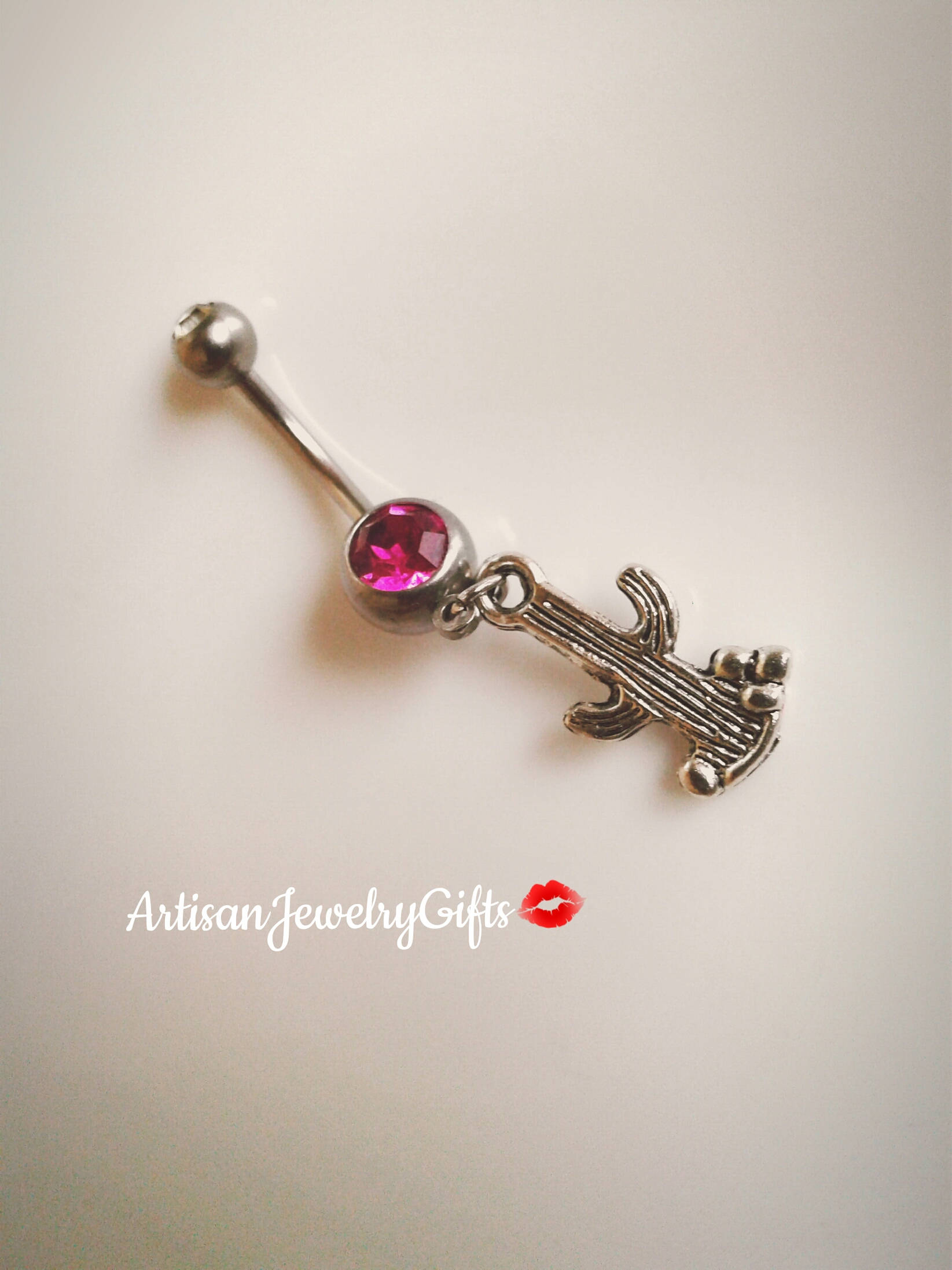 a53815dfb Hypo-Allergenic Silver Cactus Belly Button Ring Pink Crystal Belly Ring  Succulent Cactus Navel Ring Cactus Bar Bell Christmas Gift For Her on  Storenvy