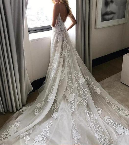 See Through Wedding Dresses.Sexy Tulle Wedding Dress V Neck See Through Applique Beach Wedding Dress Long Wedding Gown Spaghetti Straps Bridal Dress W18 From Tidedress