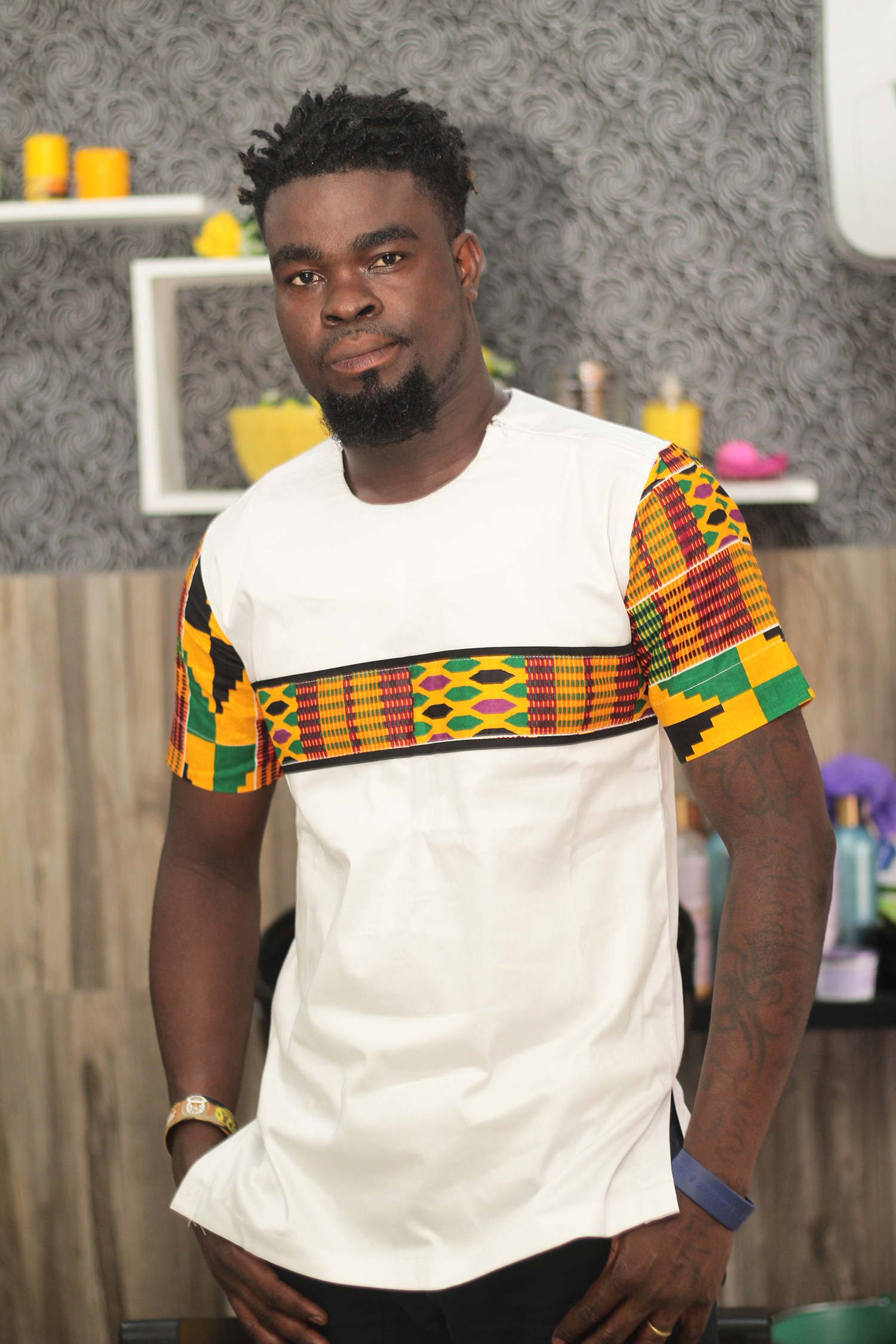 7582441844f African Men s Kente and White Cotton Short Sleeve Shirt African Men s  Clothing
