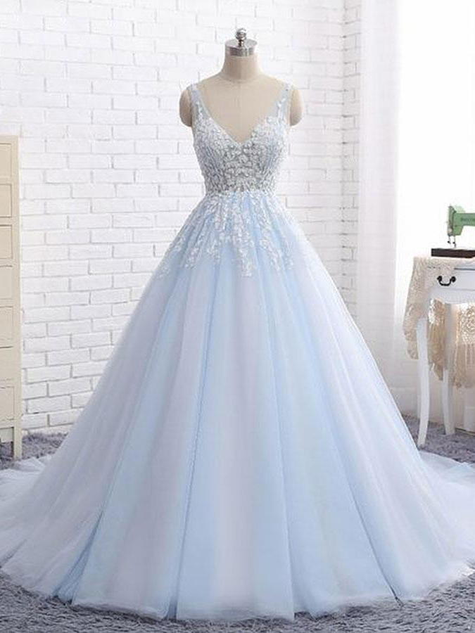 Ball Gown Prom Dresses V-neck Appliques Brush Train Long Prom Dress ...