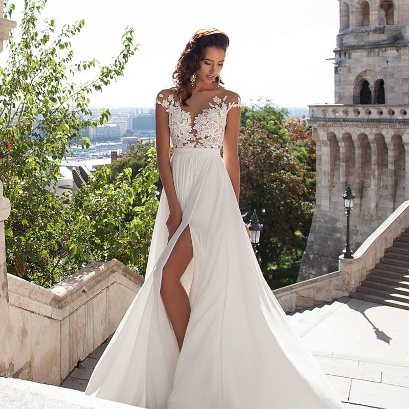 87fe5b5785 Ivory Cap Sleeve Slit Prom Dress