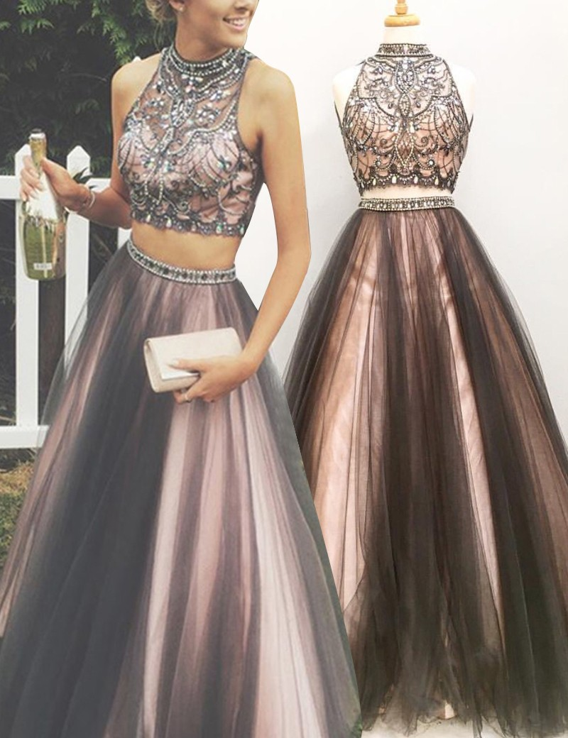 e01e8b9765931 FREE Shipping DHL Two Piece Formal Gown With Beaded Crop Top,Backless Prom  Dress