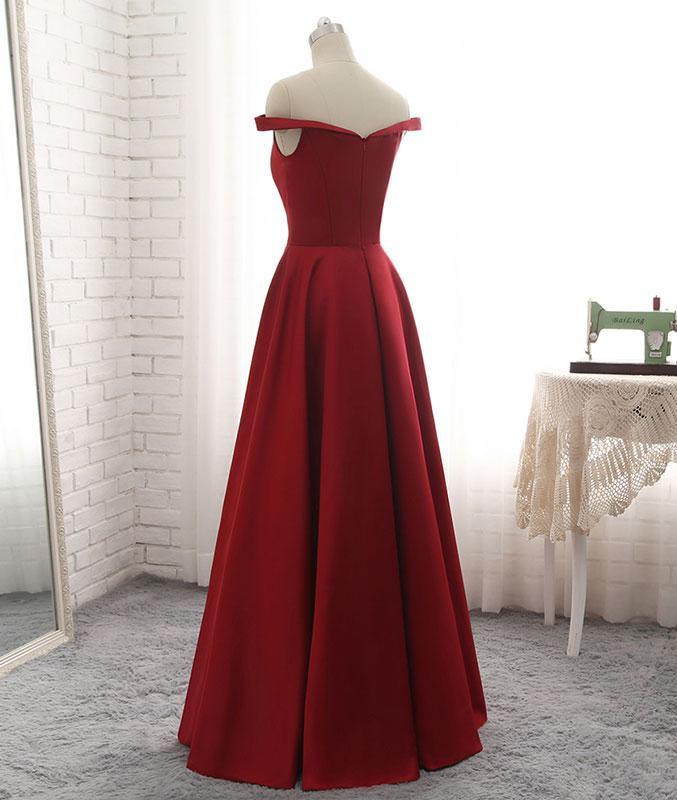 73ce2c55ed88 Elegant A-Line Off-the-Shoulder Red Satin Floor Length Prom/Evening ...
