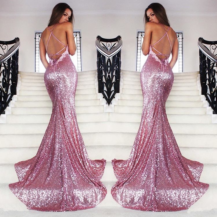 ef52eb39 FREE Shipping DHL Pink Sequin Prom Dress,Mermaid Prom Gown,Backless Prom  Dress on Storenvy