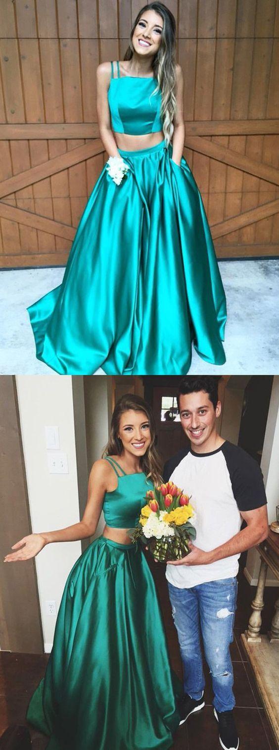 58f872de9432 Two Piece Spaghetti Straps Hunter Satin Prom Dress Pleated with ...