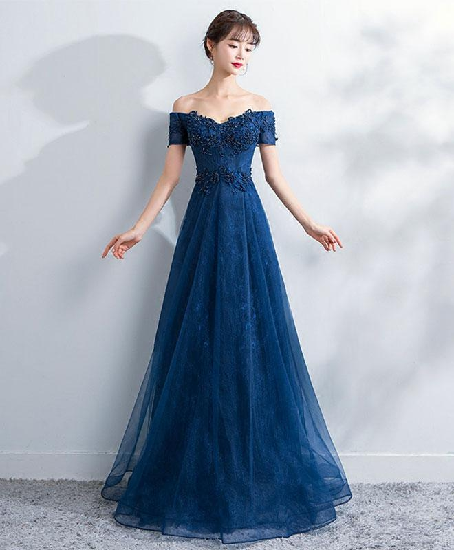 Blue lace off shoulder long prom dress 73a89a8da4a6