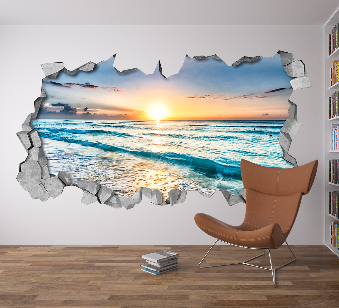 Sunset Broken Wall Decal 3d Wallpaper 3d Wall Decals 3d