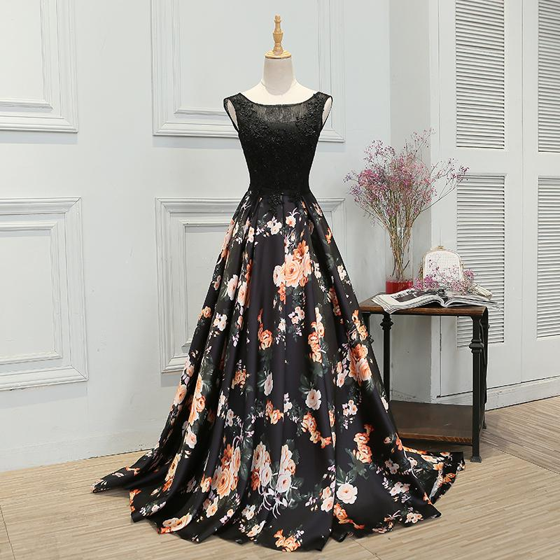 0d2230e3664 Elegant A-Line Bateau Sleeveless Floral Print Long Prom Evening Dress With  Appliques on Storenvy