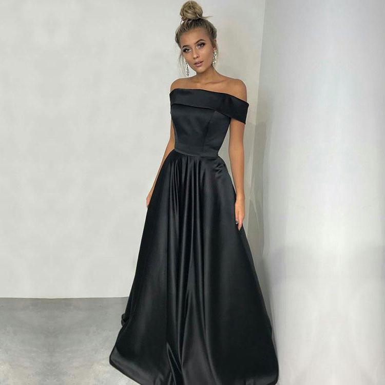 Simple A Line Off Shoulder Long Black Satin Eveningprom Dresses On