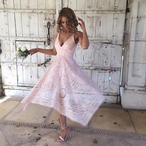 3ae10f0fed Asymmetrical Deep V Neck Tea Length Pink Lace Bridesmaid Prom Dress ...