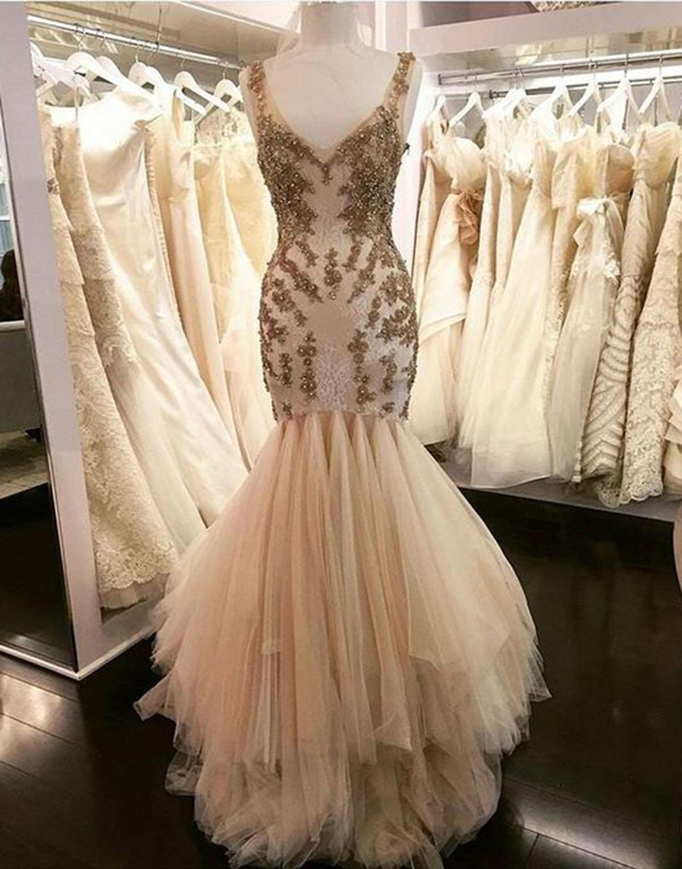 c49f77fe62ec Creamy tulle long mermaid halter evening dress, long V neck gold lace  appliques prom dress