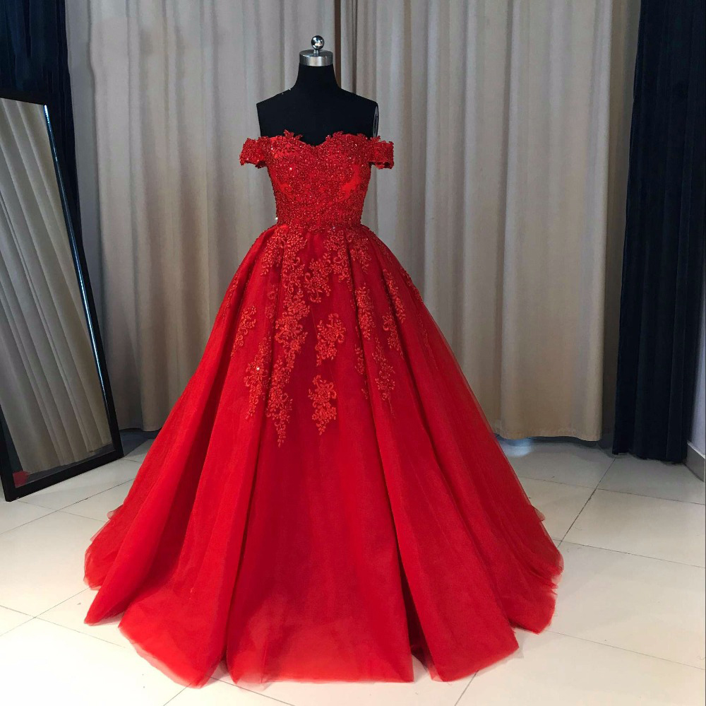 Charming Long Prom Dress, Red Tulle Ball